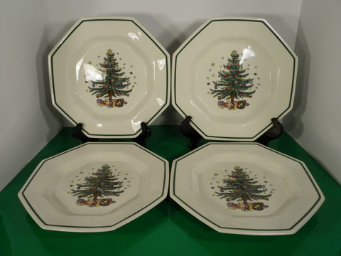 Nikko CHRISTMASTIME Dinner Plate (s) LOT OF 4 Christmas Tree Pattern Octagonal