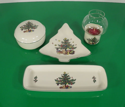 Nikko CHRISTMASTIME Hostess Gift Set Mint Tray Candy Dish Bon Bon Candle Lamp