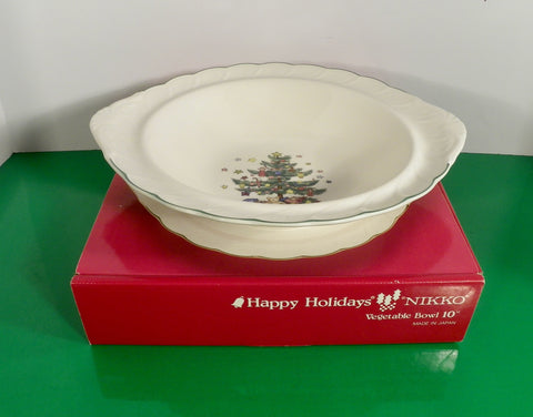 "Nikko HAPPY HOLIDAYS Vegetable Bowl 10"" Christmas Tree Pattern Made Japan"