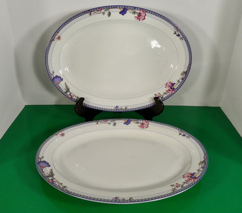 "Oneida BLUE LATTICE Large Oval 14"" Meat Platter (s) LOT OF 2 Floral on White"