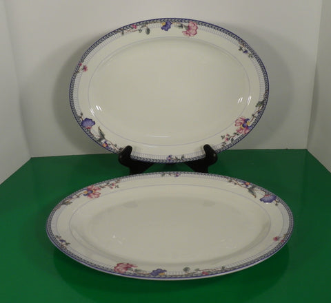 "Oneida BLUE LATTICE Large Oval 14"" Meat Platter (s) LOT OF 2 Flowers on White"