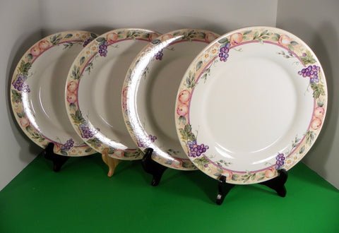 Pfaltzgraff ORCHARD Dinner Plate (s) LOT OF 4 Peaches Grapes Fruit 11 inch