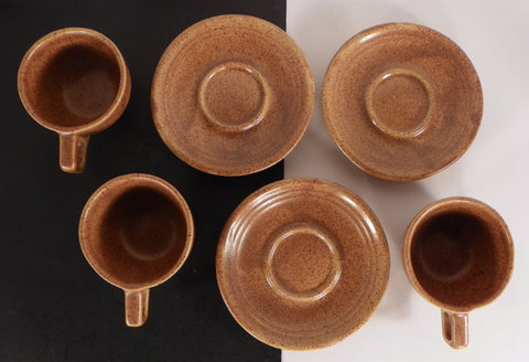 Western Stoneware Monmouth MOJAVE BROWN Cup and Saucer Set (s) LOT OF 3 Made USA