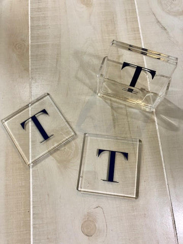 Set of 4 Acrylic Coasters with Stand
