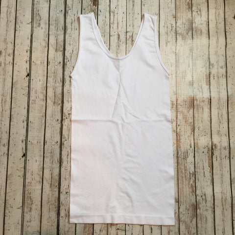 Wide Strap Reversable Tank - White