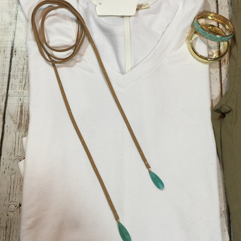 Suede studded choker lariat with turquoise anchors necklace