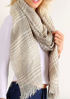 Neutral Plaid Wrap Around Scarf