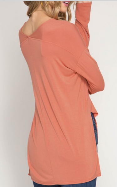 Orange blush 3/4 sleeve tee
