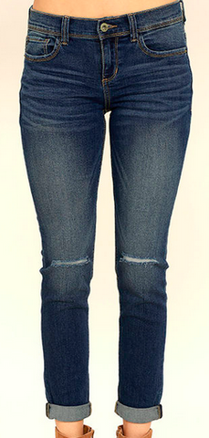 Medium Wash Denim Split Knee Skinny Jeans