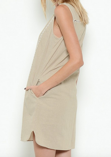 Lace Trim Khaki Dress