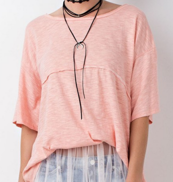 Peach Oversized Slub Tee