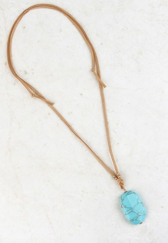 Suede Adjustable Stone Necklace
