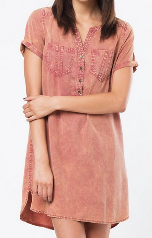 Tencel Shirt Dress - Rust