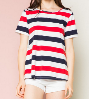 Striped Color Block Tee