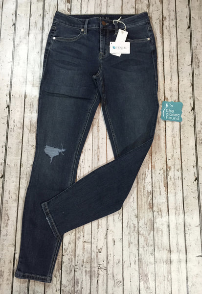 Tencel/Cotton Mid Rise Distressed Skinny