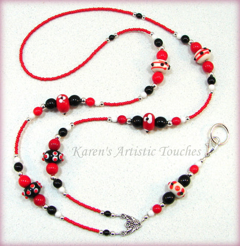 Black Red Flowers Dots Glass Beaded Lanyard ID Badge Holder - cancer awareness jewelry, Lanyard - jewelry, KarensArtisticTouches - KarensArtisticTouches