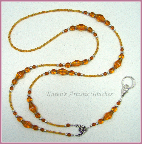 Amber Elegant Czech Glass Beaded Lanyard ID Badge Holder - cancer awareness jewelry, Lanyard - jewelry, KarensArtisticTouches - KarensArtisticTouches