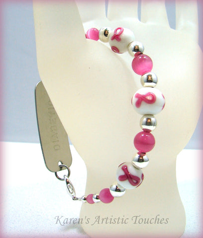 Breast Cancer Awareness Round Bead Medical ID Bracelet - cancer awareness jewelry, Medical Bracelet - jewelry, KarensArtisticTouches - KarensArtisticTouches