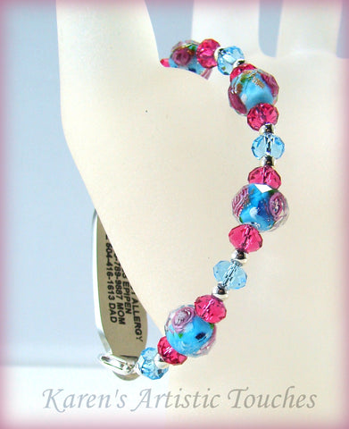 Blue Rose Pink Swarovski Crystal Beaded Medical ID Alert Bracelet - cancer awareness jewelry, Medical Bracelet - jewelry, KarensArtisticTouches - KarensArtisticTouches