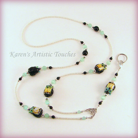 Black Owl Pearl Glass Beaded Lanyard ID Badge Holder - cancer awareness jewelry, Lanyard - jewelry, KarensArtisticTouches - KarensArtisticTouches