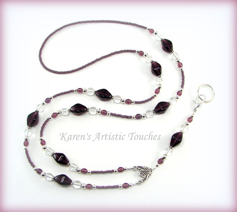 Amethyst Purple Elegant Czech Glass Beaded Lanyard ID Badge Holder - cancer awareness jewelry, Lanyard - jewelry, KarensArtisticTouches - KarensArtisticTouches