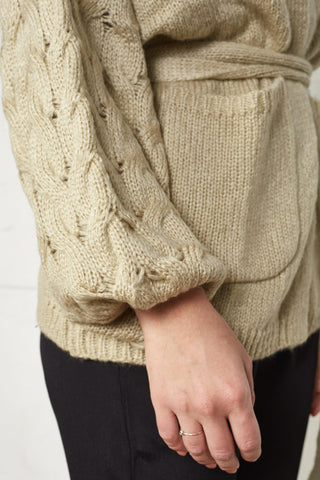 Camile Cable Bell Sleeve Cardi in Oatmeal  was $110 now $95 last one!