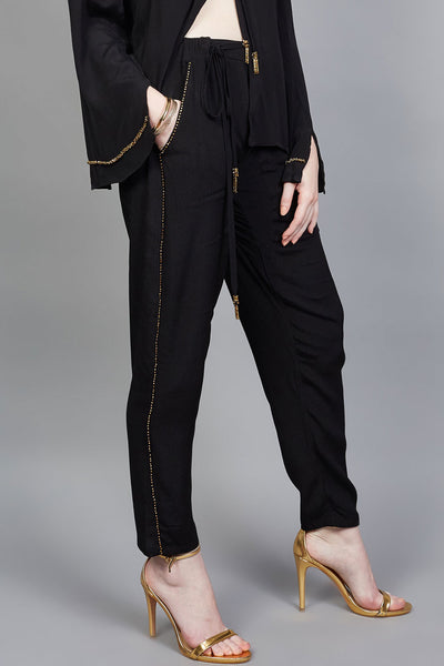 Cressida pant Black with gold metal beads