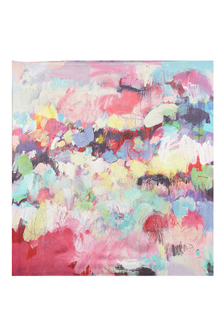"Kate Barry Print Scarf ""Spring"" In Silk Crepe/Silk Satin"