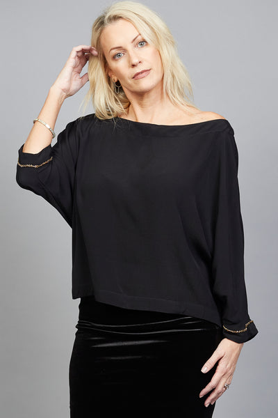 Charlotte top ¾ sleeve with metal beads Black