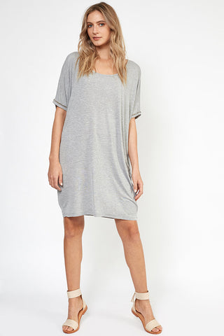 Tabitha Beaded T-shirt Dress Grey silver beads