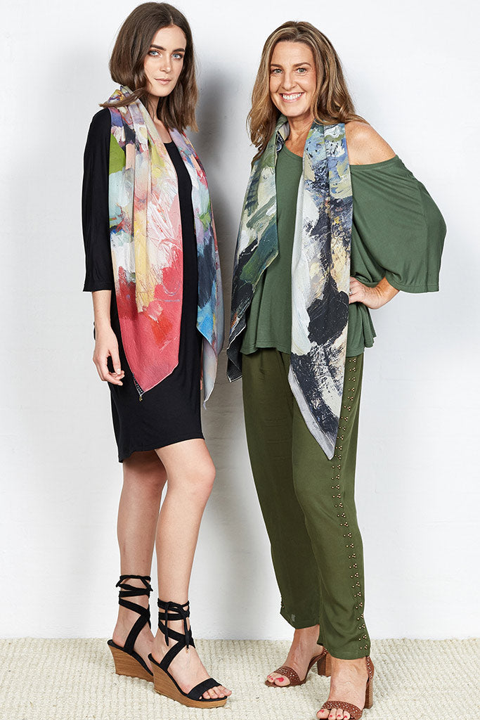 "Kate Barry Print Scarf ""Moss"" Silk Crepe / Silk Satin"