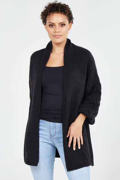 Camile Cable Bell Sleeve Knit in Charcoal