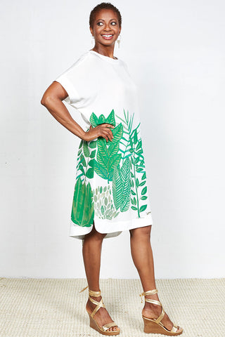 Botanical Print Limited Edition Silk Kaftan Dress With Exclusive Holly Neilson Illustration ONLY ONE LEFT!