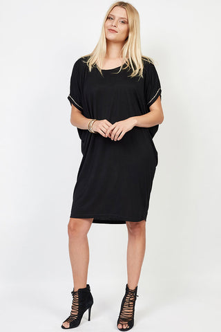 Tabitha T-Shirt Dress In Black Silver beads