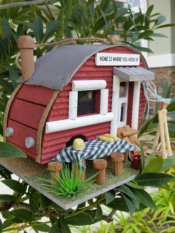 Backyard Camper Birdhouse has the look of a Backyard Camper cozy wood Birdhouse - The Birdhouse Hut