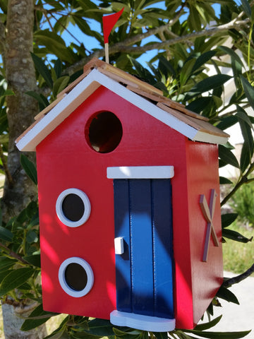 Beach Cottage Birdhouse is a Decorative Wood Birdhouse with Wood Shingled Roof - The Birdhouse Hut