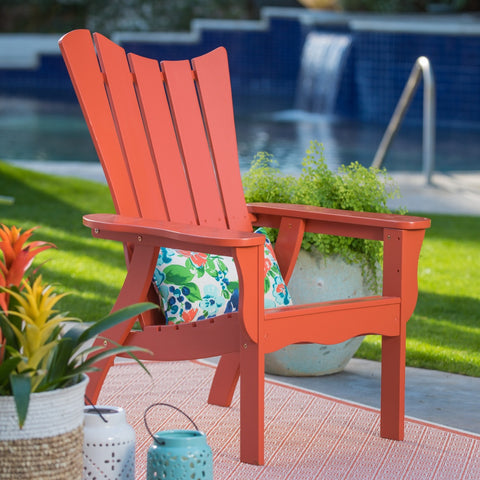 Ocean Wave Wood Adirondack Chair - Coral - The Birdhouse Hut