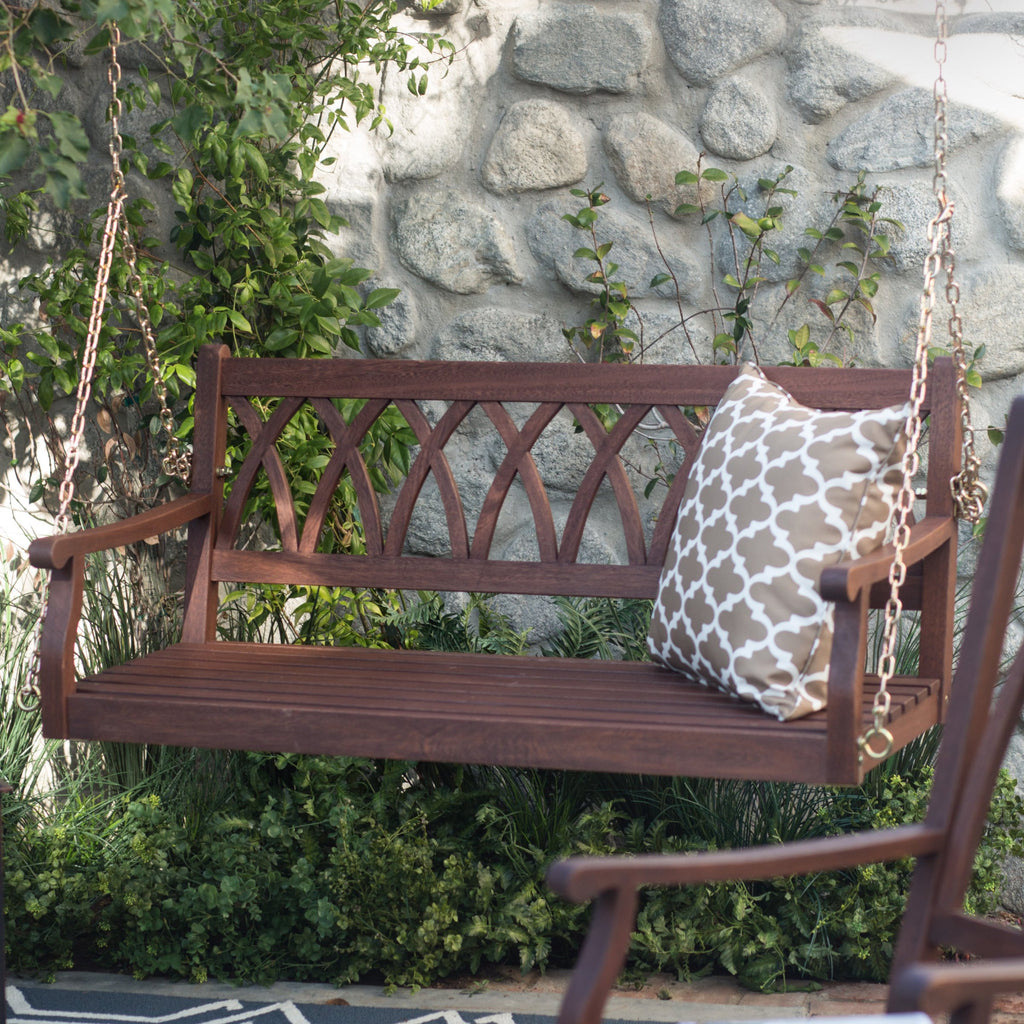 Wood Porch Swing For Patio And Garden 4 Ft. In Dark Brown Finish   The