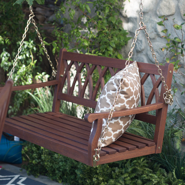Wood Porch Swing for Patio and Garden 4 ft. in Dark Brown Finish - The Birdhouse Hut