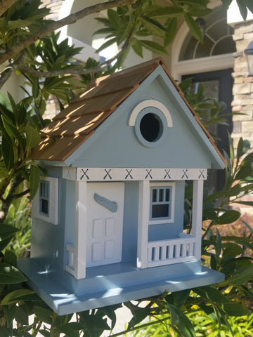 The Birdhouse Hut Blue Fishing Lake Birdhouse Light Blue Pure White Trim Wood Shingled Roof - The Birdhouse Hut