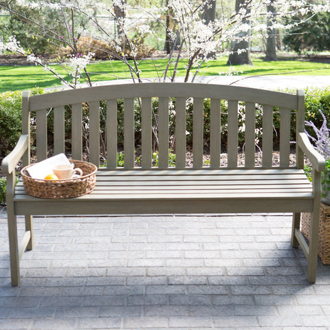 Amherst Curved Back 5 ft. Outdoor Wood Garden Bench in Driftwood Finish - The Birdhouse Hut
