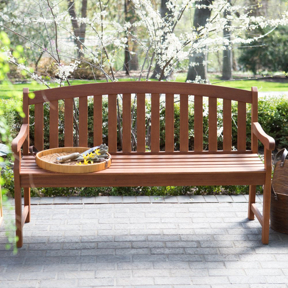 Amherst Curved Back Outdoor Wood Garden Patio Bench In Natural Finis The Birdhouse Hut