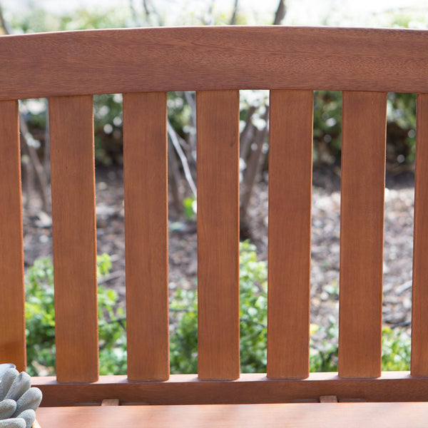 Amherst Curved Back Outdoor Wood Garden / Patio Bench in Natural Finish - The Birdhouse Hut