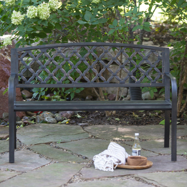 Crossweave Curved Back 4-ft. Metal Garden Patio Garden Bench - The Birdhouse Hut