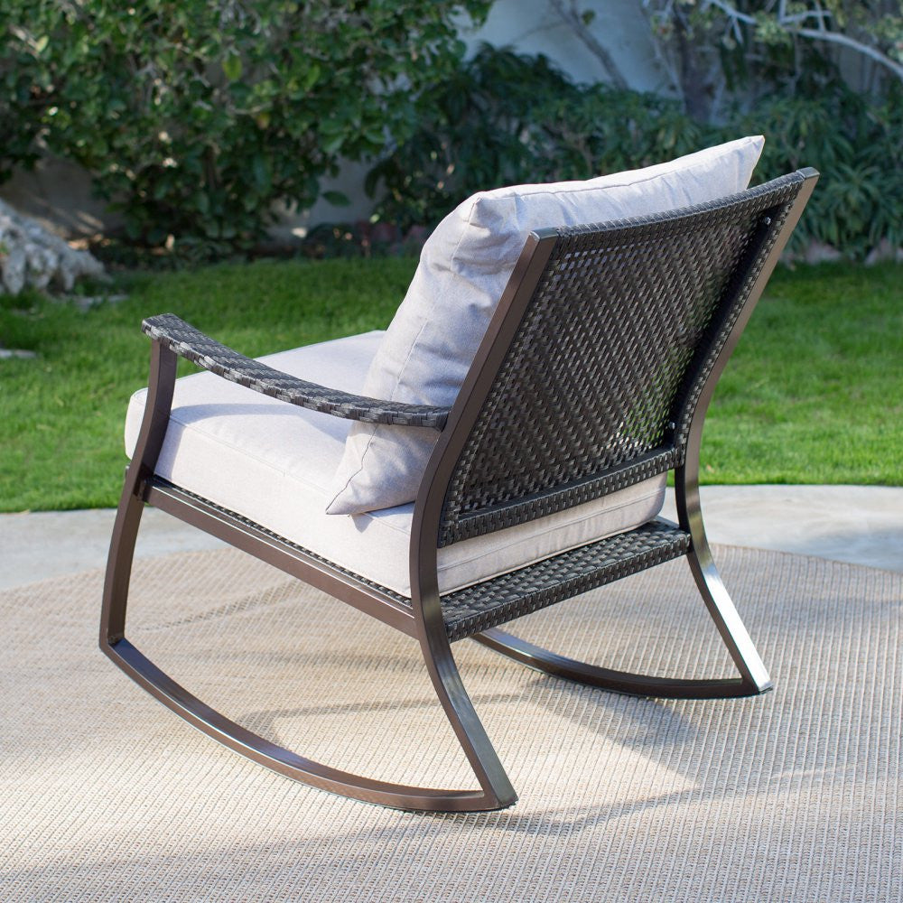 All weather wicker outdoor patio porch rocking chair the for All weather garden chairs