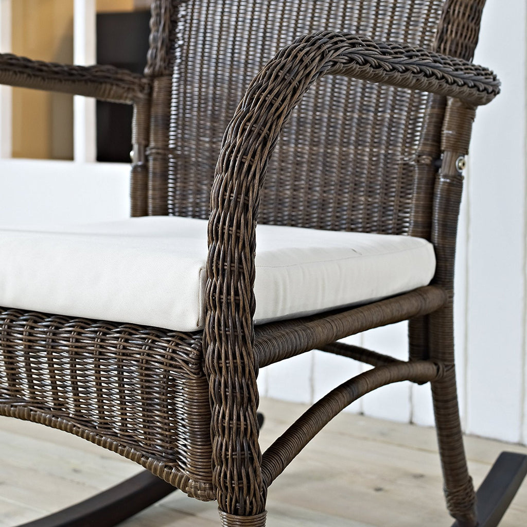 ... Mocha Resin Wicker Indoor / Outdoor Rocking Chair With Beige Cushion    The Birdhouse Hut ...