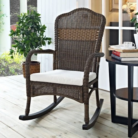 Mocha Resin Wicker Indoor / Outdoor Rocking Chair with Beige Cushion - The Birdhouse Hut