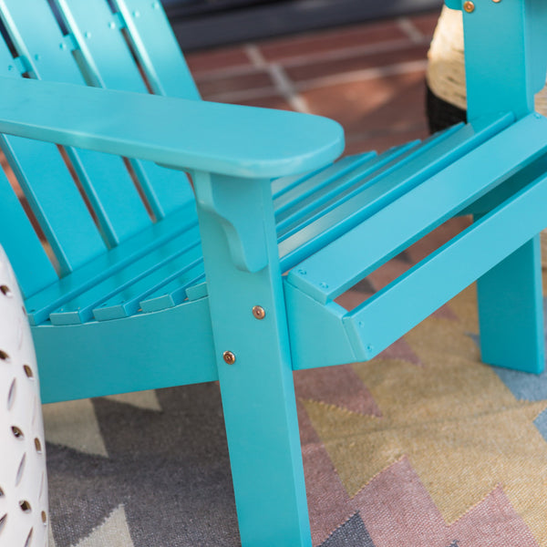 Acacia Wood Adirondack Patio & Garden Chair in Aqua Blue - The Birdhouse Hut