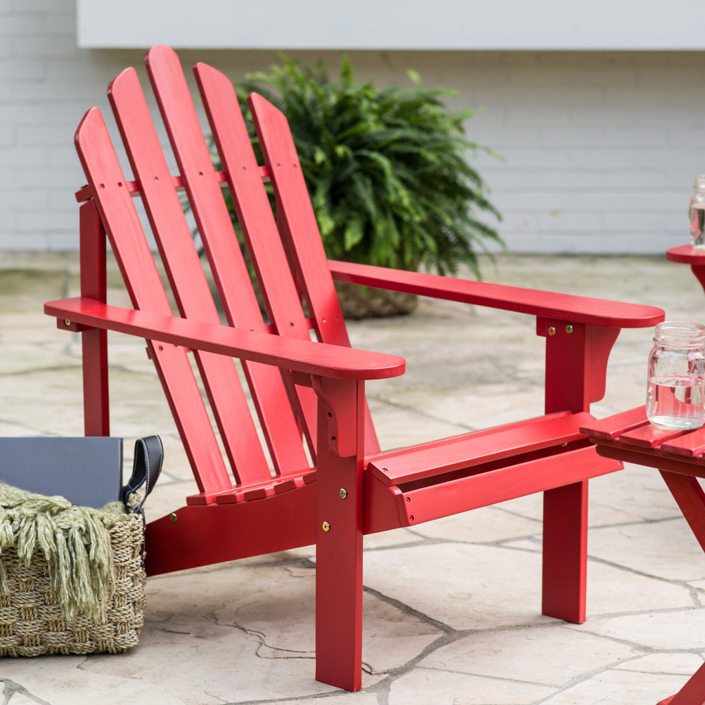 Acacia Wood Adirondack Patio & Garden Chair in Red - The Birdhouse Hut