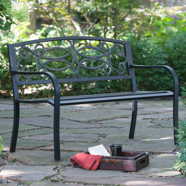 Scroll Curved Back 4-ft. Metal Patio Garden Bench - The Birdhouse Hut